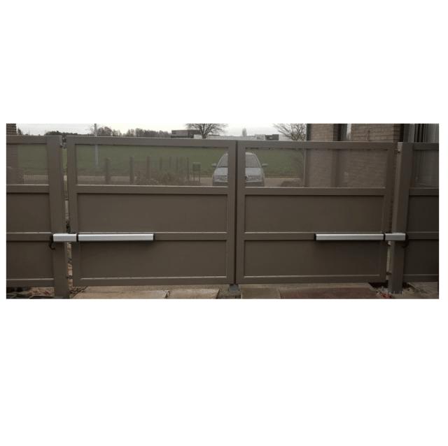 gibidi top 291 hydraulische openers op metalen draaihek met perfo plaat