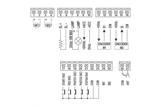 GIBIDI be24 voor 2 draaihekopeners op 24 Vdc - aansluitschema