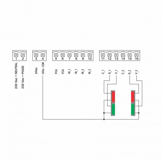 Gibidi TL100 sturing voor rood-groen licht - schema